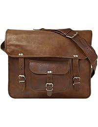 Anshika International 11 X15 Handmade Real Goat Leather Messenger Bag Satchel Laptop MacBook Crossbody Bag - Size...