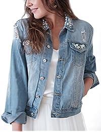 Constant Love® Damen Jeans Jacke für die Braut WIFEY Applikation mit Perlen  und Destroyed Effekten für die Flitterwochen Hochzeit… b1115dab87