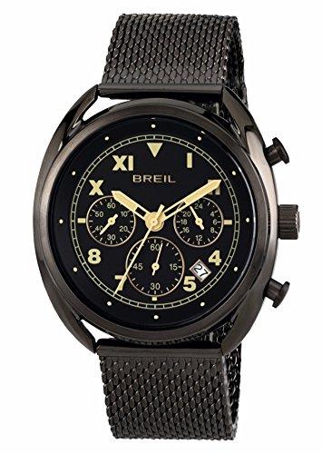 BREIL Men's BEAUBOURG WATCH Collection MONO-COLOUR BLACK dial CHRONO QUARTZ movement and STEEL/IP BRACELET TW1667