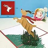 JSGJHK Dreidimensionale Grußkarte durch Hirsche alter Mann Weihnachtsbaum 3d Papierschnitt Gravur, rotes Deckblatt Freude rotwild 15 * 15cm