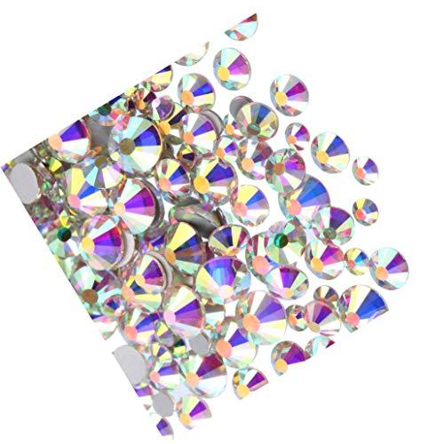 Xhuan 4320 Pièces Pierres Précieuses Flatback Rond Strass de Verre 3 Tailles Nail Art Téléphone Artisanat Bricolage (Multicolore)