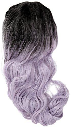 len Wurzeln Ombre Cosplay Halloween Perücke für Frauen gelockt Welle Haar Perücken Kappe/silber MX BLAU MIX Lila rf19 (Rock Halloween-mix)
