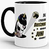 Tassendruck Einhorn-Tasse Zum Geburtstag Die Coolsten Batcorns Werden im Juni Geboren Innen & Henkel Schwarz/Unicorn/Einhorn/Batcorn/Geschenk/Kaffeetasse/Mug/Cup/Beste Qualität - 25 Jahre Erfahrung