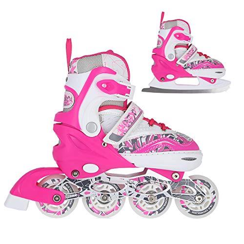 NILS 2in1 Inlineskates/Schlittschuhe Graffiti pink Gr. 31-34, 35-38, 39-42 verstellbar ABEC7 (35-38 verstellbar)