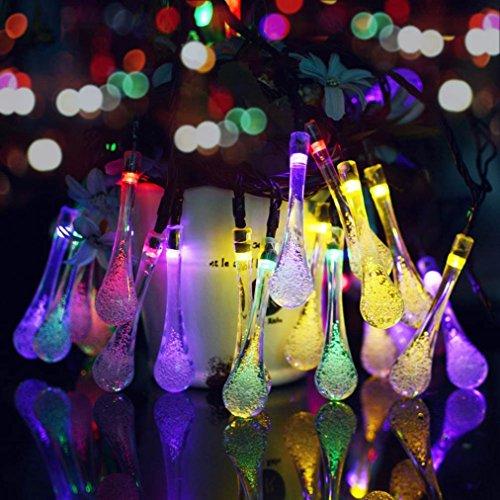 VENMO Multi Farbe 20 LED-Eiszapfen-Lichtern solarbetriebene Regentropfen Garten Lichterkette/LED Wasserdicht Dekorative Lichter für Outdoor, Garten, Terrasse, Weihnachten, Xmas Tree, Urlaub Party (Multicolor) (Einbauleuchten Dekorative)
