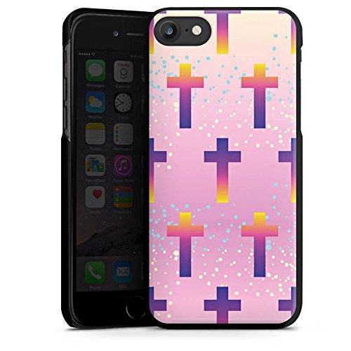 Apple iPhone 8 Plus Silikon Hülle Case Schutzhülle Kreuz Muster Pastell Hard Case schwarz