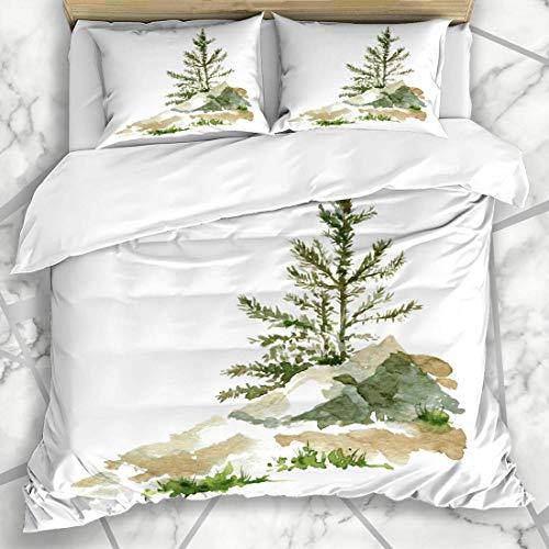 Soefipok Bettbezug-Sets Zeichnung Forest Young Pine Trees Rocks von Aquarell Natur Cedar Sketch Redwood Shrub Design Hand Mikrofaser Bettwäsche mit 2 Pillow Shams -