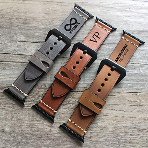 Apple Watch Strap Hand Stitch Vintage echtes Leder Band 38 40 42 44mm iwatch Band Gurt Herren Boyfriend Mann Geschenk Serie 4 3 2 1 personalisierte graviert Weihnachtsgeschenk Luxus Premium