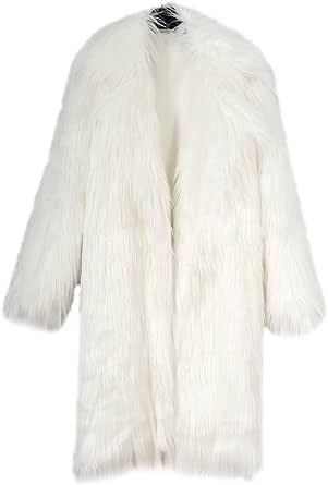 YuanDian Donna Allungare Lunga Pelliccia Sintetica Cappotto Autunno Inverno Casuale Morbido Caldo Elegante Ecologica Pellicce Finta Giubbotto Giacche
