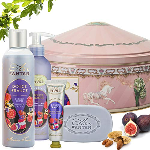 Französisches Beauty Pflege Geschenkbox aus Metall im Vintage Stil Douce – Un Air d'Antan Exclusiv Parfum : Süße Mandel, Feige und Vetivergras. Enthält 1 Duschgel (250ml), 1 Handcreme (25ml), 1 Stückseife (100g) und 1 Bodylotion (200ml) - Das Perfekte Kombination : Reinigende und Pflegende Produkte ohne Parabene - Geschenkideen für Frauen