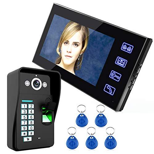 XSGDMN Video Doorbell, Türeinlasssystem mit 7 Inch Display, Fingerprint Outdoor-Host, Night Vision, Multi-Maschine-Sprechanlage, Wasserdicht für Zuhause -