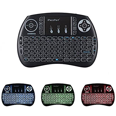 Backlit Mini Keyboard,iPazzPort 2.4GHz Wireless Portable USB Keyboard with Touchpad Mouse for Windows,Android/Google/Smart TV, Linux,Mac, LED Backlight,Rechargable Li-ion Battery