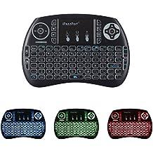 iPazzPort Mini Retroiluminado Teclado Inalámbrico con Touchpad 2.4GHz Mini Keyboard Teclado Ergonómico con Ratón Touchpad para Teclado Android tv, Smart TV