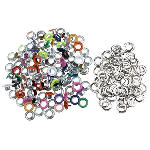 Ecloud Shop 200 Metall Silber Farbe runde /Ösen//Eyelets//Nieten 8mm