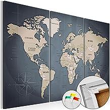 murando - Cuadro - Tablero de corcho 120x80 cm - Cuadro sobre corcho - Poster Mapamundi Continente - k-A-0058-p-h