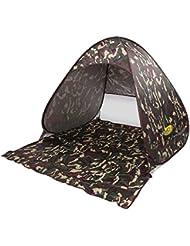 Pop Up tienda de campaña para la playa sol refugio con cremallera portátil de cortina para al aire libre automático playa jardín pesca tiendas anti UV UPF 50+, para niños niñas adolescentes 2persona (camuflaje)