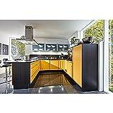 Einbauküche U-Form Mango/Cortina Eiche Schwarz inkl. Elektrogeräte