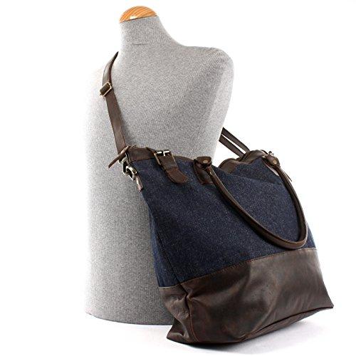 LECONI großer Shopper Schultertasche kleiner Weekender Beuteltasche DIN A4 Vintage Jeans Denim Leder 41x41x20cm LE2005-D dunkelblau / dunkelbraun