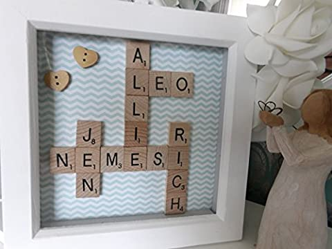 Scrabble Tile Family Tree Art Frame. Scrabble Word Tile Crossword Personalised Name Frame.Wedding, Anniversary Birthday, Mum Dad Friend