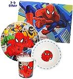 """4 tlg. Geschirrset - """" ultimate Spider-Man """" - Porzellan - Trinktasse + Teller + Müslischale + Unterlage - Kindergeschirr Keramik Frühstücksset - für Kinder Jungen - Frühstücksgeschirr Geschirr / Eßlerngeschirr - Kinderservice - Kindergeschirrset - Spiderman - Spinne Action Held / Figur - Helden Spinnen - Iron First - Suppenteller / Platzdeckchen - Eßunterlage - Tischset"""