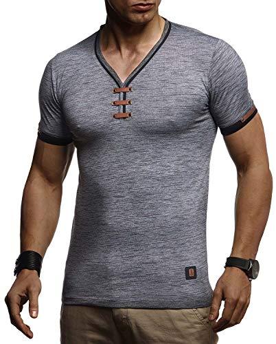 LEIF NELSON Herren Sommer T-Shirt V-Ausschnitt Slim Fit Baumwolle-Anteil | Basic Männer T-Shirt V-Neck Hoodie-Sweatshirt Kurzarm lang | Weißes Jungen Shirt Kurzarmshirts | LN4890 Anthrazit Small
