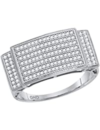 Jewels By Lux anillo de diamantes con pavé de oro blanco para hombre