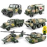 Winni43Julian Mini Auto - 6 Pezzi Set di Veicoli Militar Giocattolo per Bambini - Elicottero, Fuoristrada, Veicolo Blindato, Cisterna, Veicolo di Trasporto, Automobile Medica (Verde Militare)