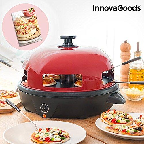 InnovaGoods IG811501 Horno para Mini Pizzas con Recetario, Rojo/Negro