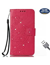 Funda Galaxy S8 Plus,Funda Cover Galaxy S8 Plus,Aireratze Slim Case de Estilo Billetera Carcasa Libro de Cuero,Carcasa PU Leather Con TPU Silicona Glitter Bling Diamond Butterfly en relieve planta pintura china Case Interna Suave [Función de Soporte] [Ranuras para Tarjetas y Billetera] [Cierre Magnético] para Samsung Galaxy S8 Plus (Rosa caliente) (+ Cable USB)