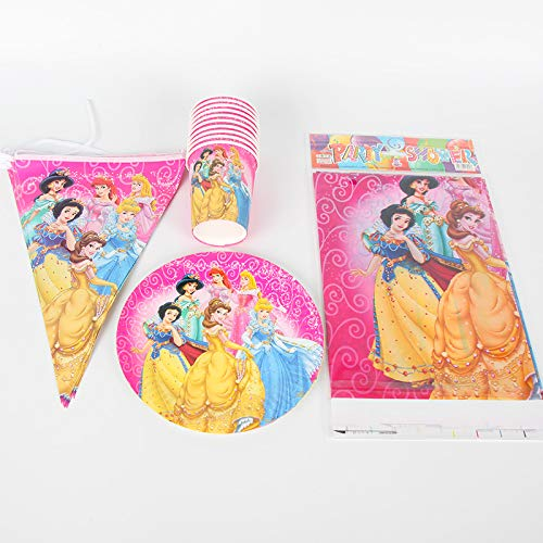 51 Stücke Prinzessin Thema Partei Liefert Dekoration Für 20 Kinder Einweg Pappbecher Platte Banner Tischtuch Set