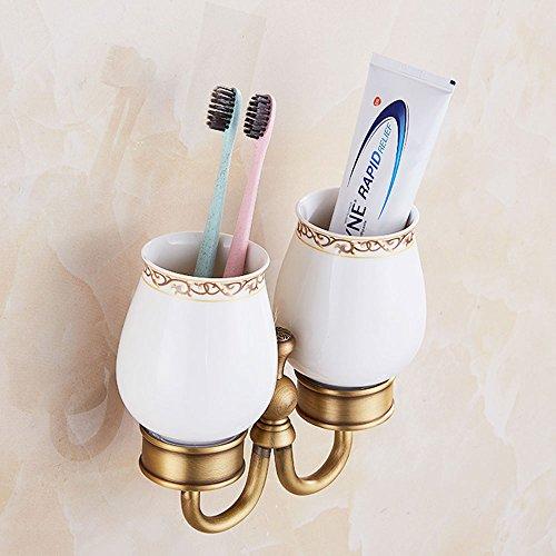 Porte-gobelets à brosse à dents en cuivre pleine noire antique en cuivre Porte-gobelet en céramique en céramique en céramique en céramique en céramique, couleur: or, taille: 15 * 19cm