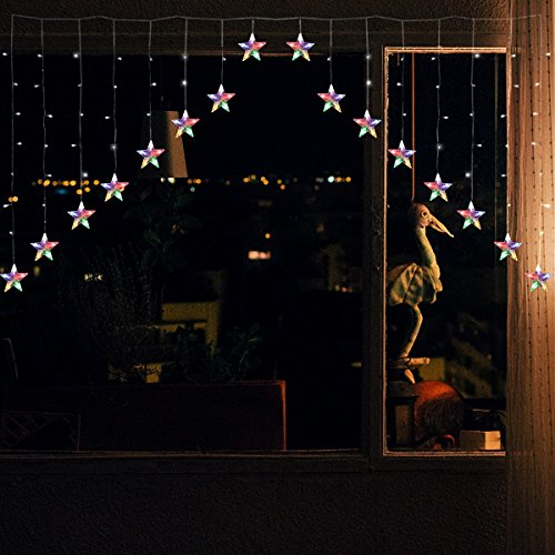 YMing LED Sterne Lichterkette 2M 136 LEDs 16 Sterne 8 Modi Lichtervorhang V-Form Sternenvorhang Weihnachtsbeleuchtung Deko für Innen Fenster für Party Hochzeit Halloween Weihnachten ( Niederspannung ) (Halloween Leuchtet Fenster)