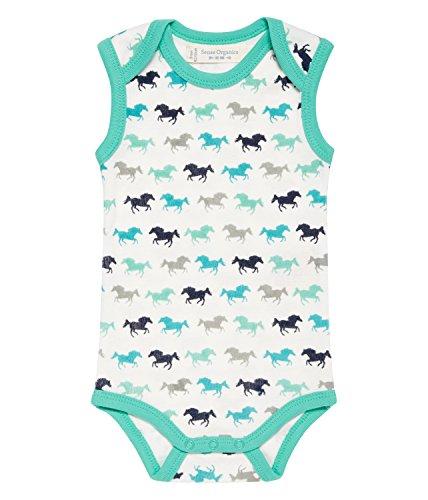Sense Organics Baby-Jungen Yaro Retro Body Ärmellos, Mehrfarbig (Aop Horse Cactus Green 085003), 68 (Herstellergröße: 3M)