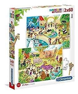 Clementoni 21603 Clementoni-21603-Supercolor Puzzle-Zoo-2 x 60 Piezas, Multicolor