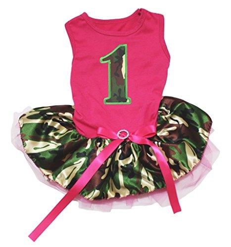o 1. Hot Pink Baumwolle Shirt Camouflage Tutu 1Hund Kleid ()