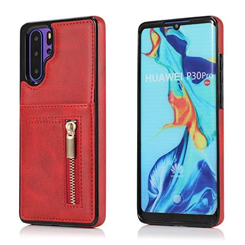 Yobby Hülle für Huawei P30 Pro,Ultra Slim Retro PU Leder Brieftasche Handyhülle mit Kartenfach Rückseite und Reißverschluss,Stoßfest Bumper Schutzhülle für Huawei P30 Pro-Rot -