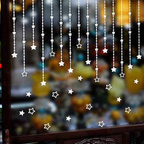 36x50 Cm Frohe Weihnachten Perle Vorhänge Shaped Stars Hängen Diy Wandaufkleber Pvc Wandtattoos Kunstwand Weihnachten Home Fenster Decor