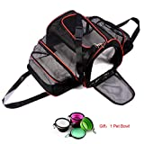 Cat Carrier Airline Approved, Wanfei Expandable Foldable Pet Carrier Travel Dog & Cat Carrier Bag Soft Sided Crate with Two Side Extension and Plush Mat for Small Dogs Cats and Kittens Puppies