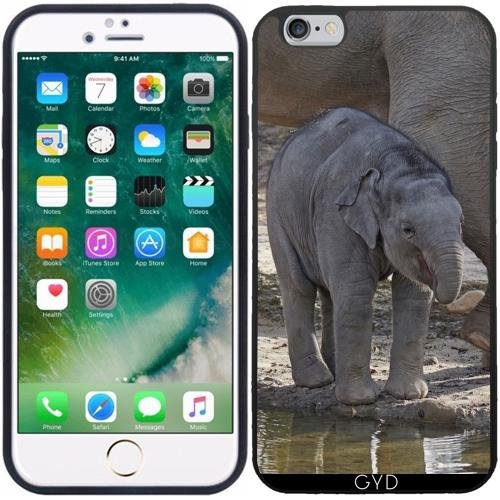 Leder Flip Case Tasche Hülle für Apple Iphone 7 / Iphone 8 - Elefantenbaby by More colors in life Silicone