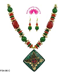 Feng Shui Beautiful Beaded Designer Fashion Jewellery Green & Red Necklace With Earring For Women
