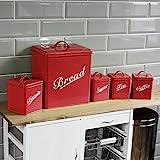 Home Discount reg; 5er-Küchen-Vorratsdosen-Set für Kekse, Tee, Kaffee, Zucker, als Brotkasten, Rot