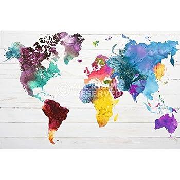 michael tompsett world map watercolor paint drop weltkarte in wasserfarben 91 5cm x. Black Bedroom Furniture Sets. Home Design Ideas