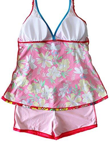 Sawadikaa Damen Retro Geblümter Badeanzug Große Größen Ein Stück Badebekleidung Monokinis Tankini Bademode Rosa