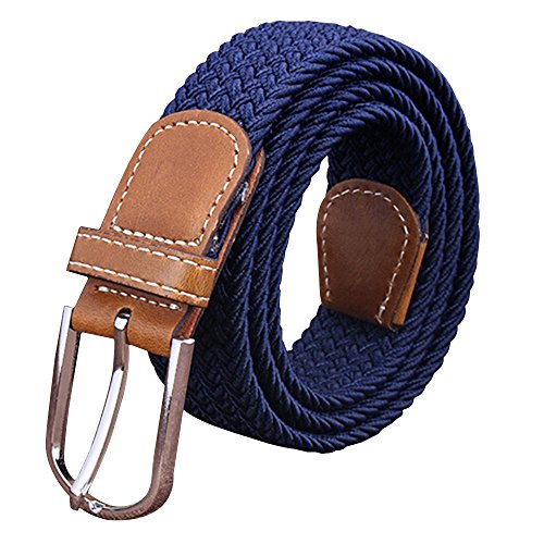 Sanwood Unisex Canvas Plain Metal Buckle Waist Belt Strap (Navy Blue)