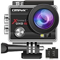Campark ACT74 Action Cam 4K 16MP Wi-Fi Action Camera Impermeabile 30M con 2 Batterie Custodia Impermeabile e Kit di Accessori Compatibile con Gopro