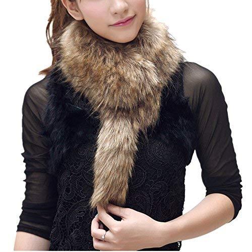 Pelzkragen Faux Pelz Shrug Fluffy Warme Winter Schal für Damen-Braun (Braun) - Braun Faux-pelz-schal