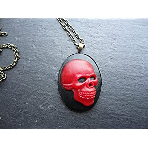 Halskette Kette mit Anhänger Totenkopf schwarz rot oval Talisman