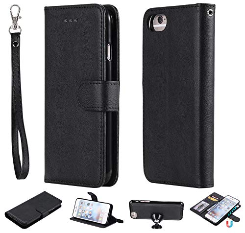 �lle für iPhone 6S,iPhone 6 Hülle,Schwarz PU Schale Slim Leder Abnehmbar Handyhülle mit Kartenfach,Magnet Autohalterung,Standfunktion Stoßfest Klappbar Flip Case für iPhone 6/6S ()