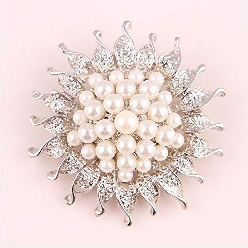 MYHMG Brosche Vintage Style Rhodium Plated Clear Crystals Imitation Pearl Big Bow Brooch for Women Wedding Accessories -