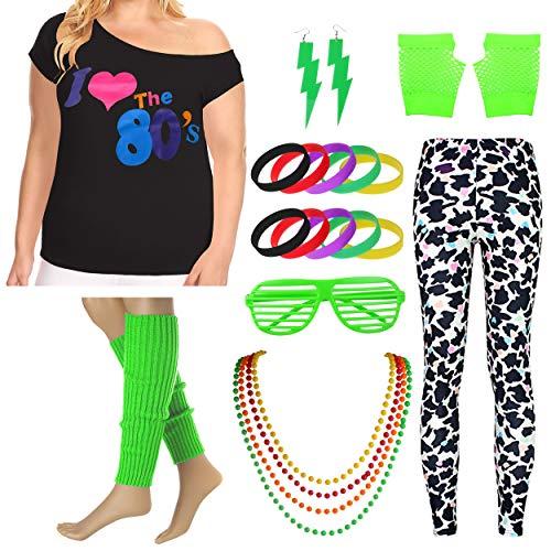 Plus Size Frauen ich Liebe die 80er Jahre T-Shirt Leggings der 1980er Jahre Kostüm Set (3X/4X, Green) (3x-4x Frauen Plus Für Size Halloween-kostüme)